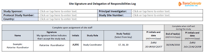 Site Signature and Delegation of Responsibilities Log