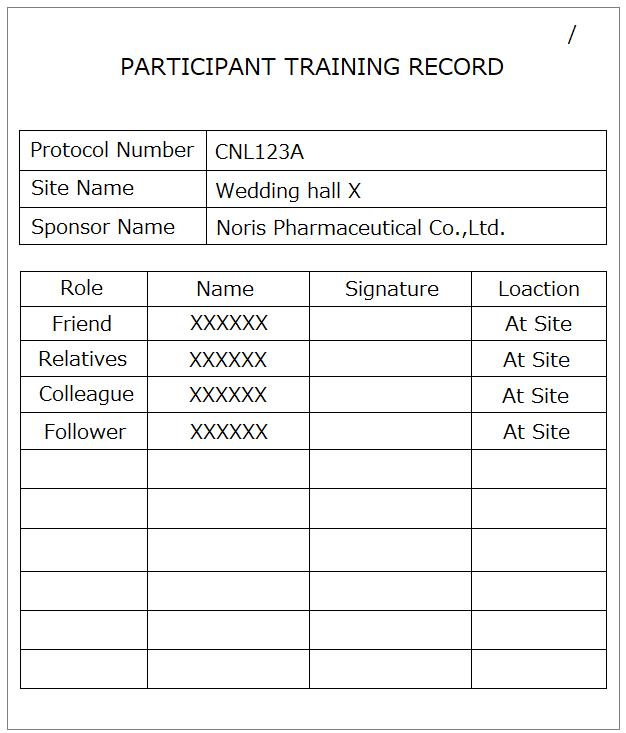 Participant Training Log_Wedding ver